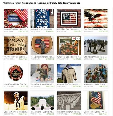 """Beautiful treasury made by Sue """"Next time you see a Veteran, walk over shake his/her hand and say Thank you and when you..."""