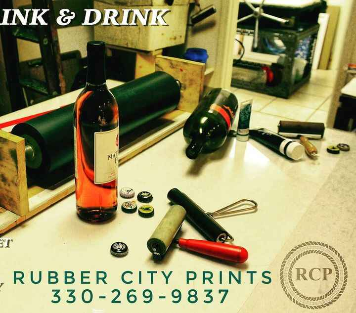 Rubber City Prints is open for your reservations every 1st Saturday 6-10pmLimited to 4 people in front room and 2 people...