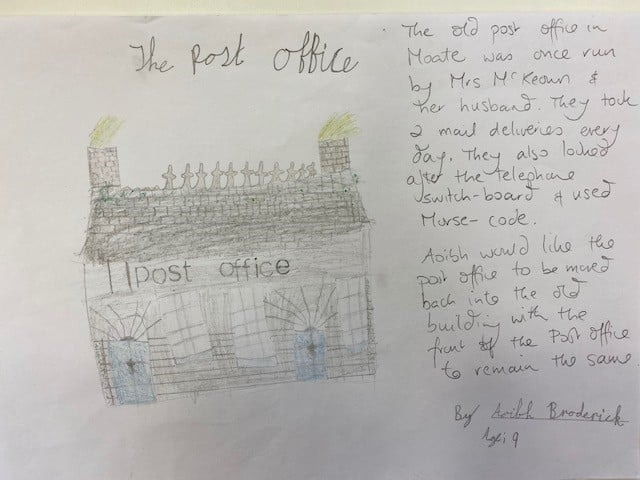 To celebrate Heritage Week, Aoibh drew her favourite old building in the town, the old Post Office in lower Main Street....