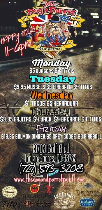 Check out Dog & Parrot's weekly specials!!! Happy hour starting at 11am! Also dont forget to take a look at the events p...