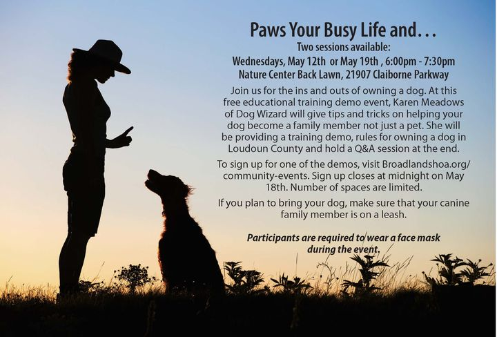 Dog Demo Days, May 12th & 19th from 6:00pm to 7:30 pm at the Nature Center. This is a free event, however, sign up requi...