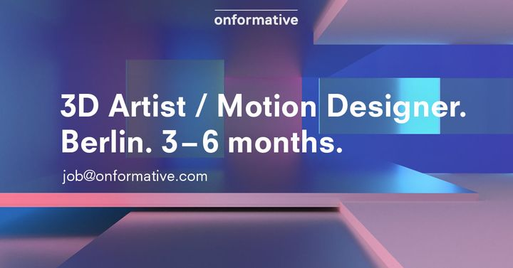 We are currently looking for a 3D / motion artist (f/m/d) to join our team on a freelance basis or on a temporary contra...